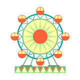 Big Ferris Wheel Ride, Part Of Amusement Park And Fair Series Of Flat Cartoon Illustrations. Isolated Object Related To Theme Park Entertainment Simplified vector illustration