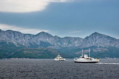 Big ferry in Adriatic sea between islands Royalty Free Stock Photo