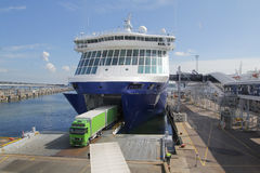 Big ferry at port, for transportation. Big ferry with green truck, for transportation Royalty Free Stock Photography