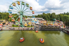 The big ferris wheel. The big colorful ferry wheel in the sky of the Julianatoren Theme Park, Apeldoorn, Netherlands royalty free stock image