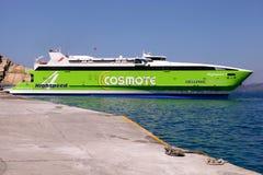 Big ferryboat in Santorini sea port, Greece. Stock Photography