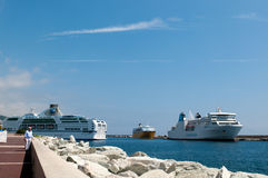 Big ferrys in port of Bastia Stock Photo