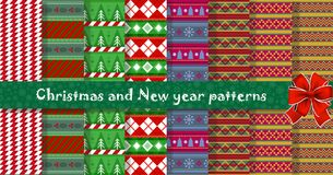 Big festive  set of cute multicolor Christmas or New Year seamle. Ss patterns for design. Vector illustration, backgrounds, templates Royalty Free Stock Photos