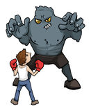 Big Fight. Small man against a huge monster, concept Stock Photos