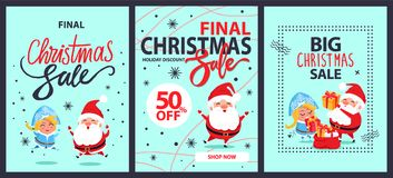 Big Final Christmas Sale Holiday Discount Shop Now. Big final Christmas sale holiday discounts shop now set of posters with Snow Maiden, happy Santa Claus and Stock Images