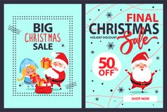 Big Final Christmas Sale 50 Off Set of Posters. With Snow Maiden, dancing Santa Claus and red sack full of xmas presents vector illustration banners Royalty Free Stock Photography