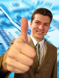 Big finger. Businessman shows the big finger Stock Photography
