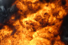 Big fire. Big burning fire with black smoke Royalty Free Stock Photography