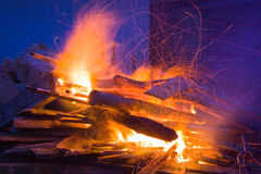 Big Fire. Country life in Romania.A big fire in night Stock Image