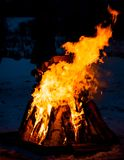 Big fire of birch trees. At night outdoors stock photo