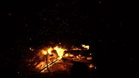 Big fire burns. Holiday. Beautiful look stock video footage