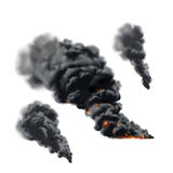 Big fire smoke set. In vector on white background Stock Photo
