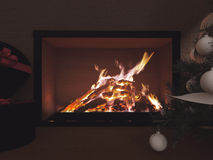 A big fireplace in the room. 3d rendering Stock Photography
