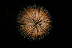 Big Firework. Big fireball firework. Black dark sky Royalty Free Stock Image