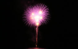Big Firework. Big fireball firework. Black dark sky Stock Photo
