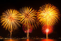 Big firework over the city. Royalty Free Stock Photos