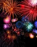Big fireworks display festive. Big fireworks festive display collection against dark sky background Royalty Free Stock Images
