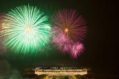 Big fireworks over Luzhniki stadium Stock Image