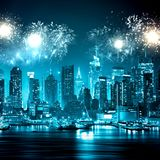 Big fireworks over Manhattan Stock Image