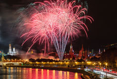 Big fireworks over Moscow Kremlin Royalty Free Stock Image