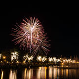 Big fireworks in the sky over a parks Royalty Free Stock Photography