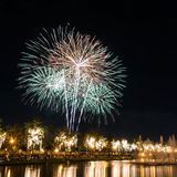 Big fireworks in the sky over a parks Royalty Free Stock Image