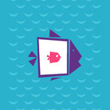 Big fish ate the small. Big fish eat the small. Fish inside the fish at sea background. Creative flat vector illustration. Modern design of fish Icon Royalty Free Stock Photography