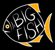 Big fish background for text. Fish frame. Vector illustration Royalty Free Stock Images