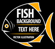 Big fish background for text. Fish frame. Vector illustration Stock Photography
