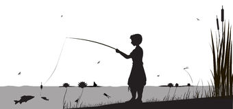 Big fish. Boy is fishing in the river standing in the water, shadows, vector Stock Photo