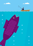 Big Fish. A businessman is fishing on a small boat, beneath him is an enormous fish. A metaphor on success in business Royalty Free Stock Photography