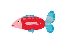 Big fish. Big cartoons red fish on white background Stock Image