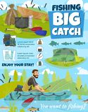 Fishing adventure, fisher boat, big fish catch royalty free illustration