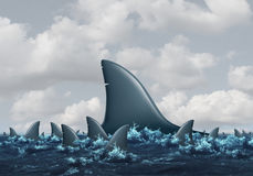 Big Fish Concept. Business metaphor as a group of smaller sharks being overshadowed by a huge domineering shark as a symbol for strength and competition with 3D Stock Photography
