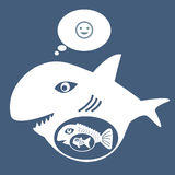 Big fish eat little fish. The concept of acquisition Company by the power of money over Stock Photo