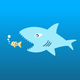 Big fish eat little fish. The concept of acquisition Company by the power of money over Royalty Free Stock Photography