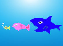 Big fish eat little fish. The concept of acquisition Company by the power of money over Royalty Free Stock Image