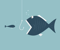 Big fish eat little fish. Concept of Saving oneself. Vector illustration Royalty Free Stock Photo