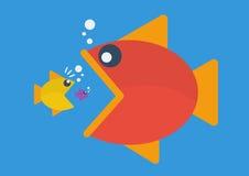 Big fish eat little fish. Flat style Stock Photo