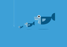 Big fish eat little fish. And hook.Organize and business Concept Stock Photography