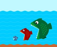 Big fish eat small fish illustration. Big fish eat medium and small fish flat style illustration. Underwater scene of predators hunt. Business competitors Royalty Free Stock Photography