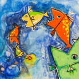Big fish eat small fish. Big fish eat small fish on a blue background.Acrylic painting on canvas Royalty Free Stock Photo
