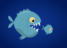 Big fish eat small fish. Vector Illustration Royalty Free Stock Image