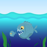 Big fish eat small fish. Vector Illustration Stock Photos