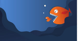Big fish eat small fish vector paper cut and copy space cute art. Illustration Stock Photography