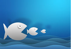 Big fish eat small fish vector paper cut and copy space cute  il. Lustration Stock Photos