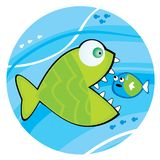 Big fish eating a little fish. Vector illustration Royalty Free Stock Image