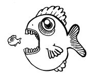 Big Fish Eating Little Fish. Illustration of big fish eating little fish Royalty Free Stock Photo