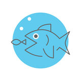 Big fish eating little fish. Business strategy concept, vector minimal design Stock Image