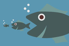 Big fish eating little fish. Vector concept Royalty Free Stock Image
